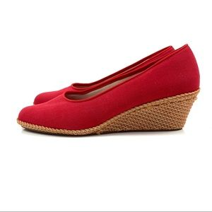 1970's red canvas with woven wedge shoes by BEACON